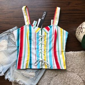 ✨NWT Lace Up Corset Rainbow Striped Tank Top